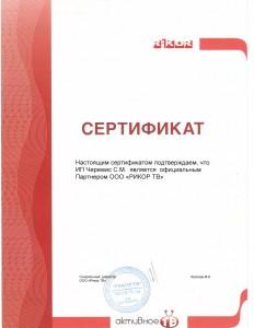 Сертификат портнёра ООО Рикор ТВ